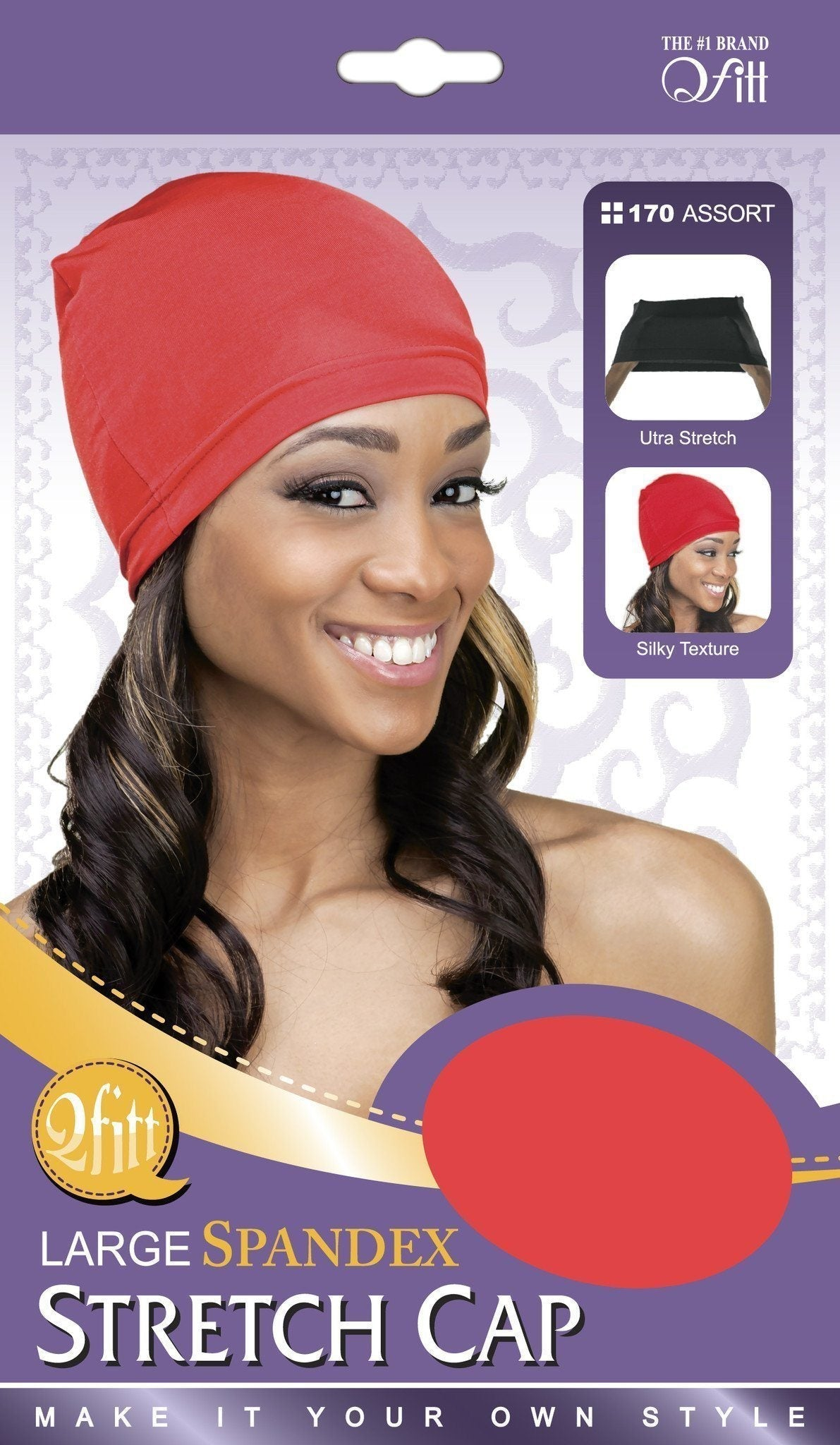 #170 Large Spandex Stretch Cap / Assort (12Pk)