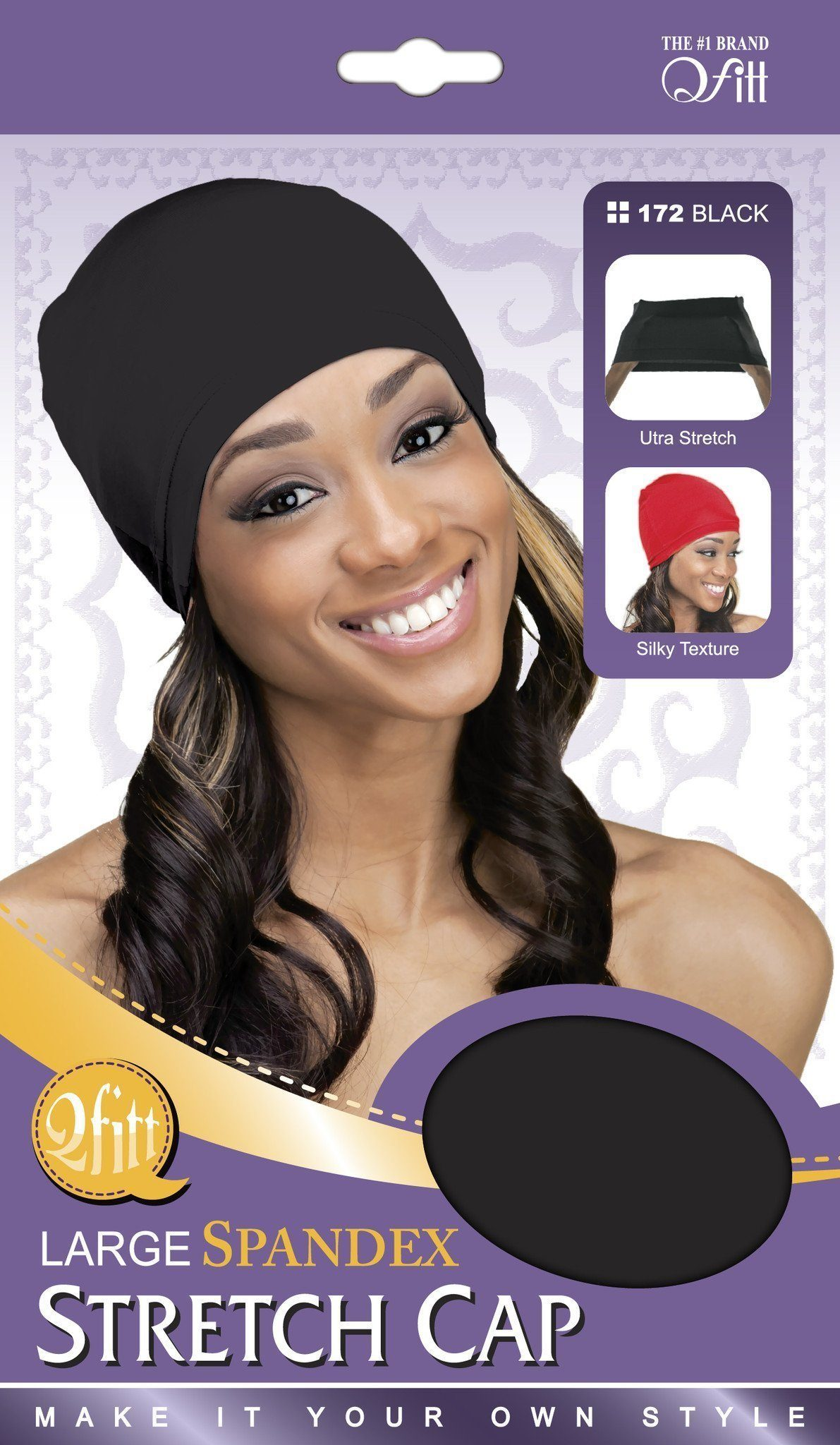 #172 Large Spandex Stretch Cap / Black