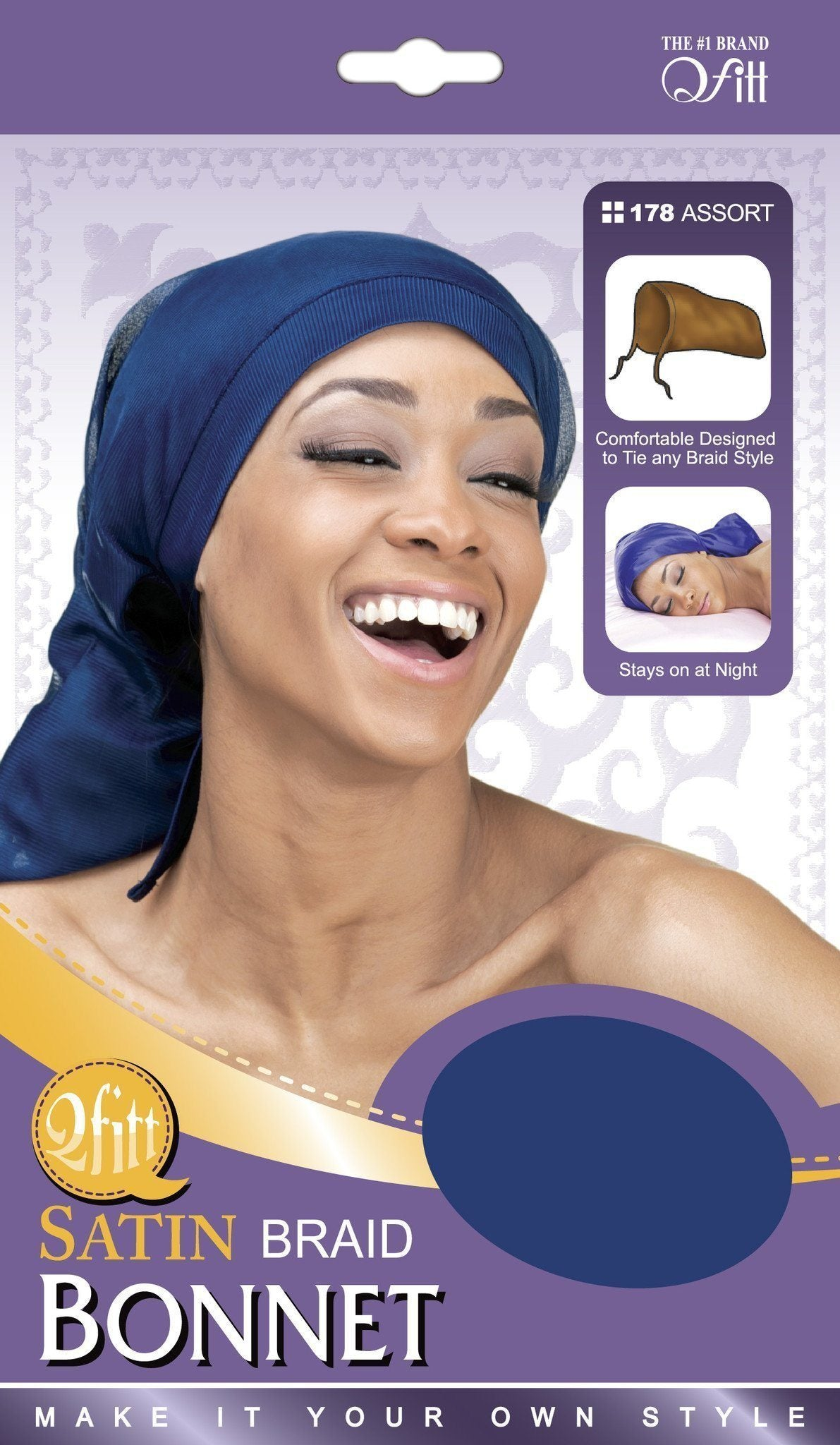 #178 Satin Braid Bonnet / Assort (12Pk)