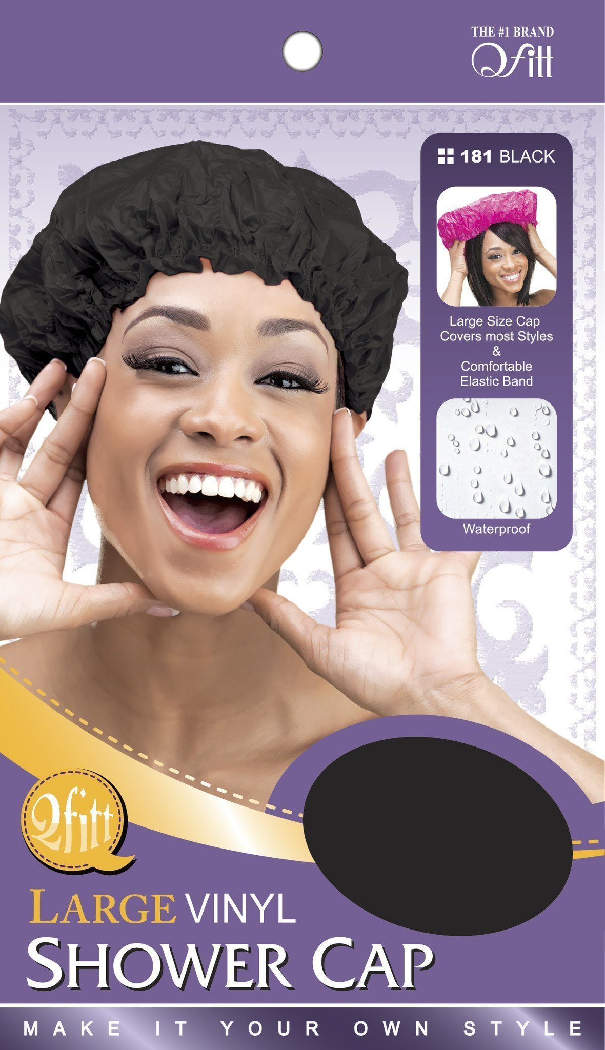 #181 Large Vinyl Shower Cap / Black