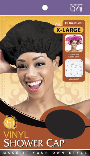 #184 Xl Vinyl Shower Cap / Black (Dz)