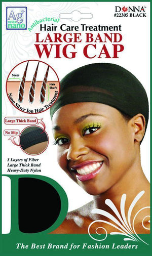 #22305 Antibacterial Large Band Wig Cap / Black (Dz)