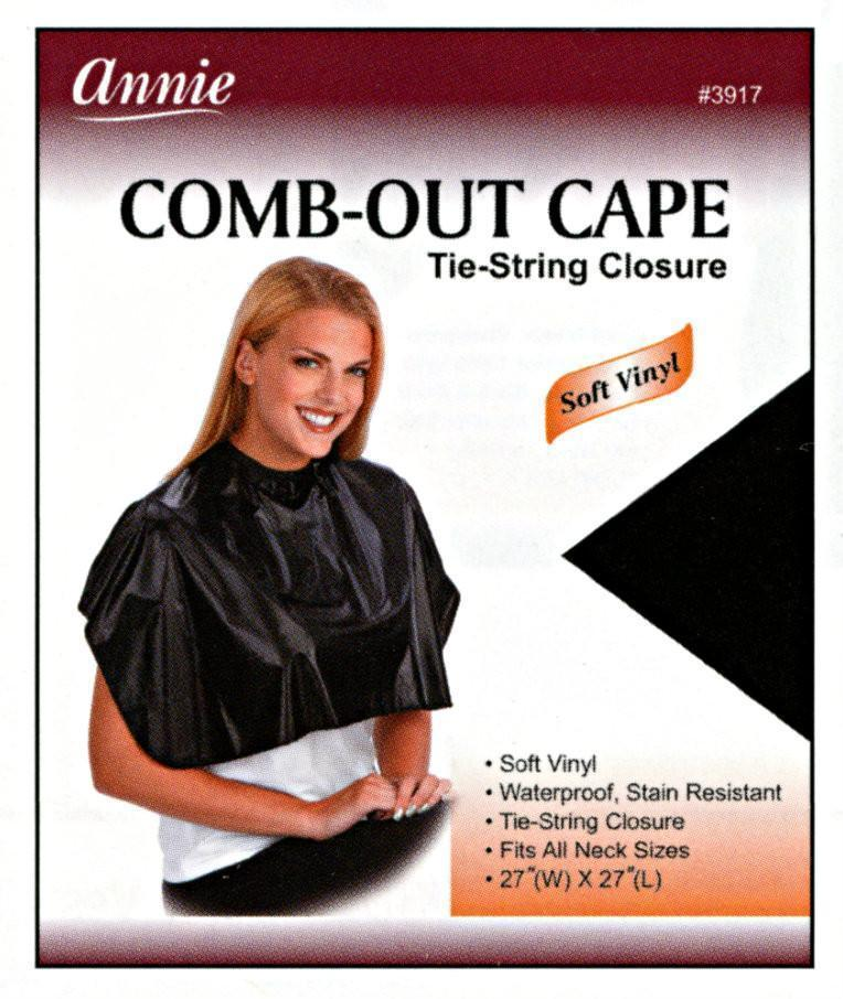 #3917 Annie Comb-Out Cape Tie-String / Black