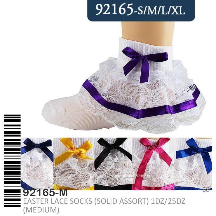 Stylian Girls Lace Socks Assorted S/M/L/XL #92165 (12PC)