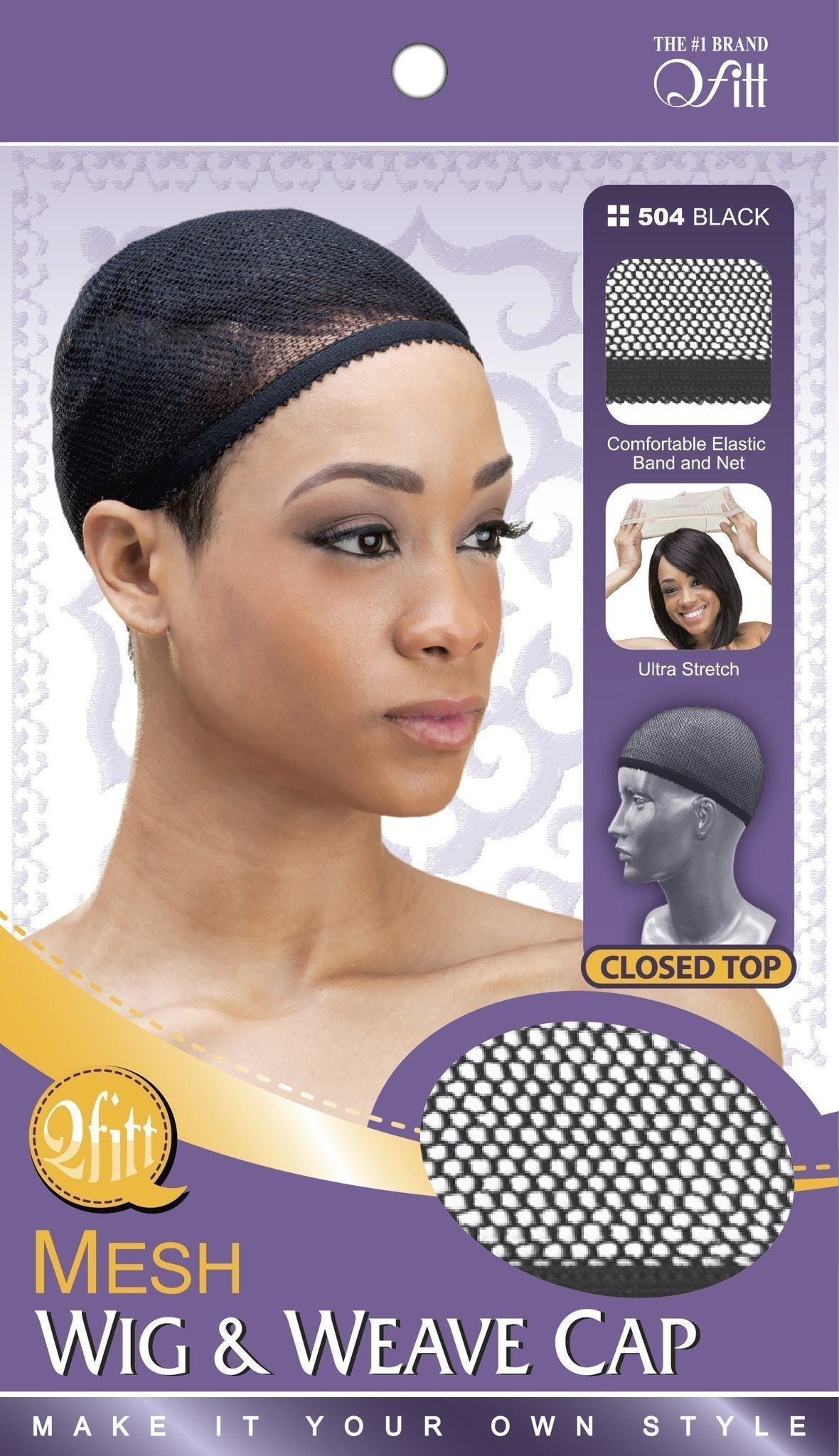 #504 Mesh Wig & Weave Cap Closed Top / Black
