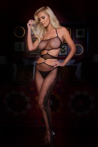 Yelete Fishnet Halter Side Lace Garter Bodystocking #818JT147 (PC)