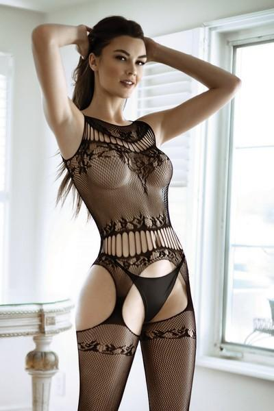 Yelete Women's Sexy & Sheer Fishnet Bodystocking with Attached Garter Tights #818JT218 (PC)