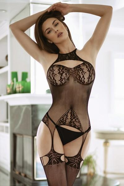 Yelete Women's High Neck Lace Fishnet Bodystocking with Attached Garter Tights #818JT222 (PC)