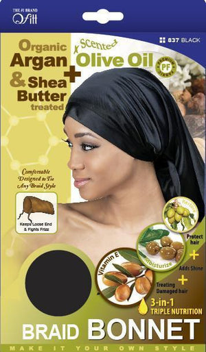 #837 Organic Braid Bonnet / Black (Dz)