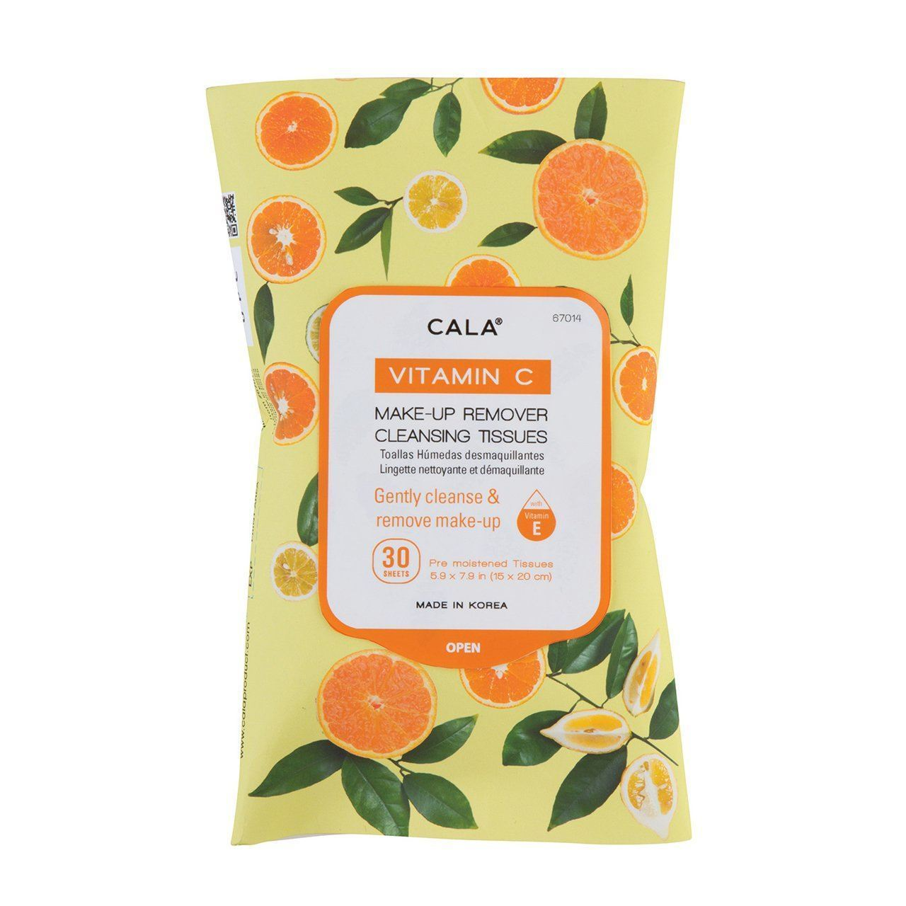 Cala Vitamin C Makeup Remover Cleansing Tissues #67014 (6PK)
