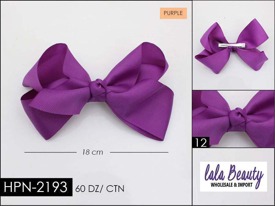 Large Hair Bow #HPN2193 Purple (Dozen)