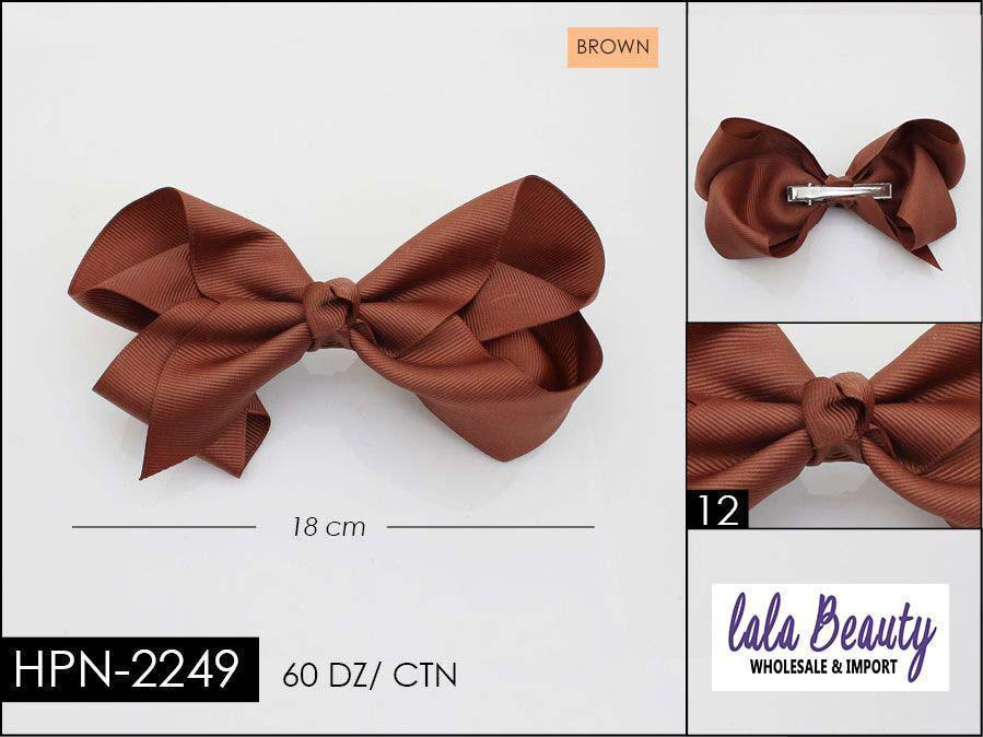Large Hair Bow #HPN2249 Brown (Dozen)