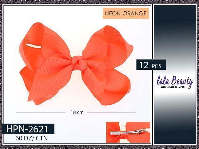 Large Hair Bow #HPN2621 Neon Orange (Dozen)