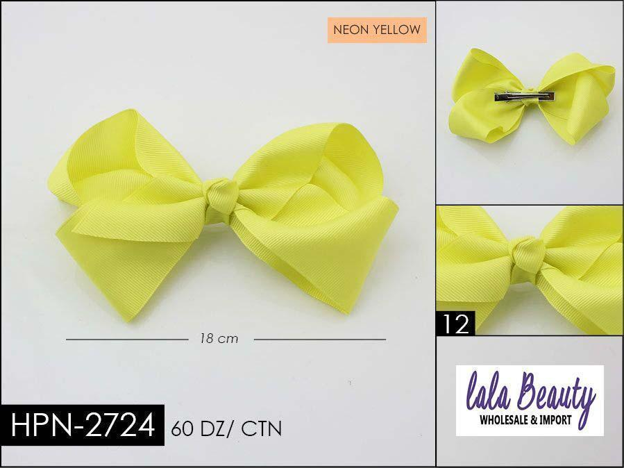 Large Hair Bow #HPN2724 Neon Yellow (Dozen)