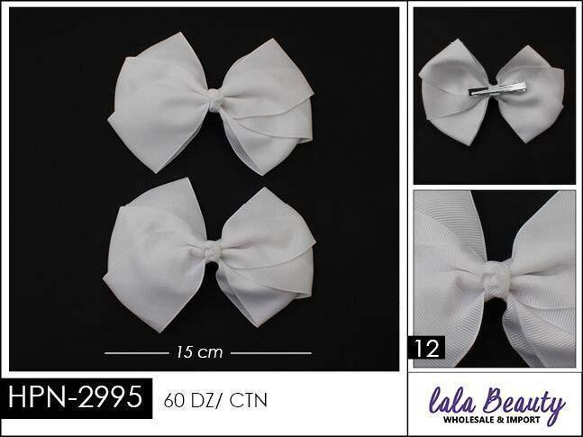 Flat Hair Bow #HPN2995 White (2 Dozen)