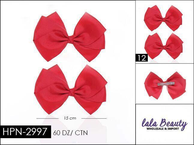 Flat Hair Bow #HPN2997Red (2 Dozen)
