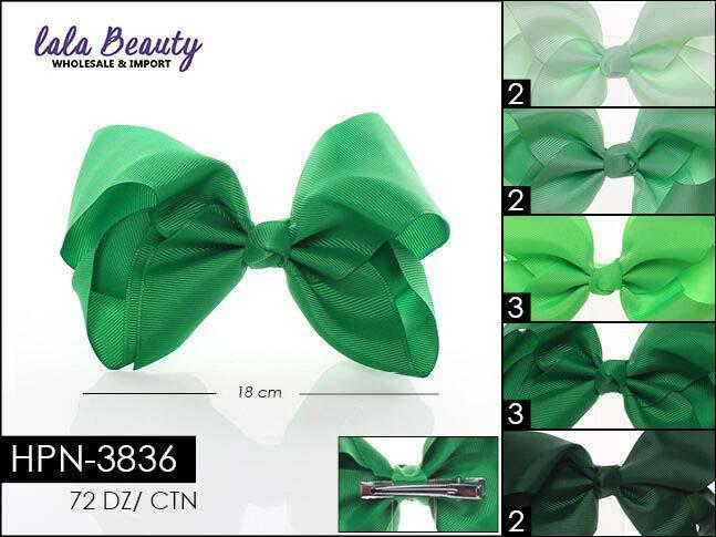 Large Hair Bow #HPN3836 Green Mix (Dozen)