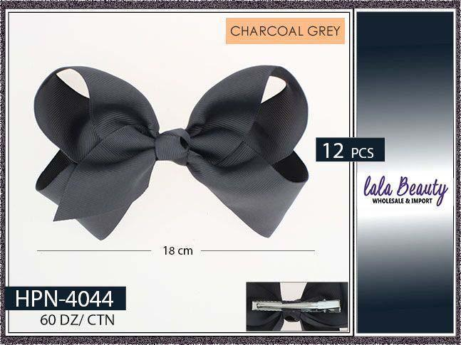 Large Hair Bow #HPN4044 Charcoal Gray (Dozen)