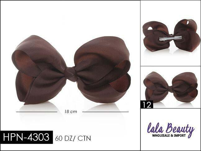 Large Hair Bow #HPN4303 Dark Brown (Dozen)