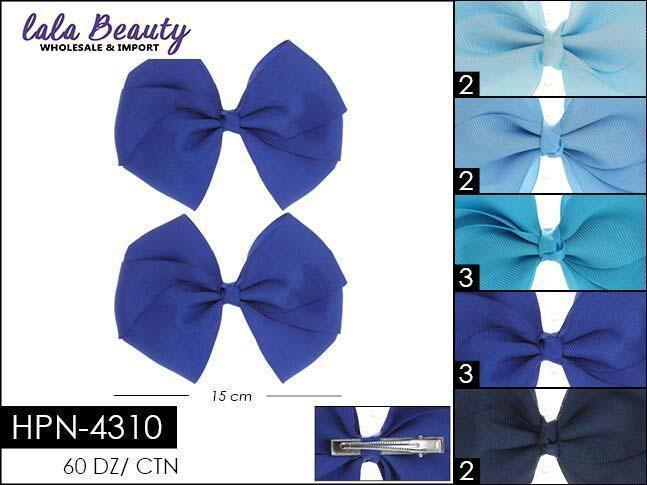 Flat Hair Bow #HPN4310 Blue Assort (2 Dozen)