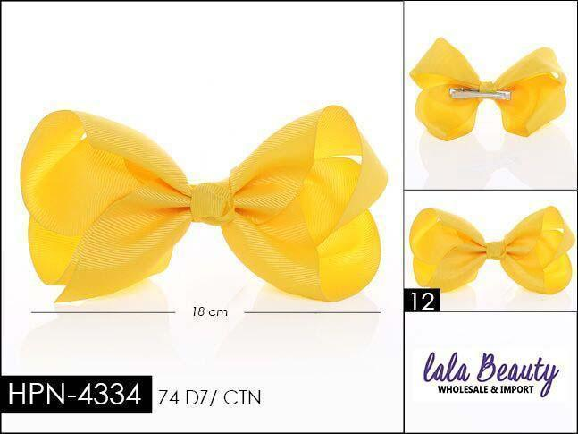 Large Hair Bow #HPN4334 Yellow (Dozen)