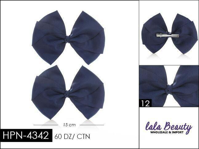 Flat Hair Bow #HPN4342 Navy (2 Dozen)