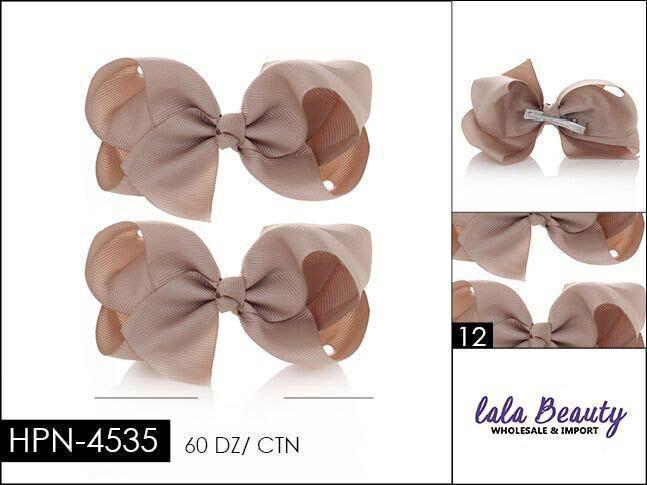 Small Hair Bow #HPN4535 Beige (2 Dozen)