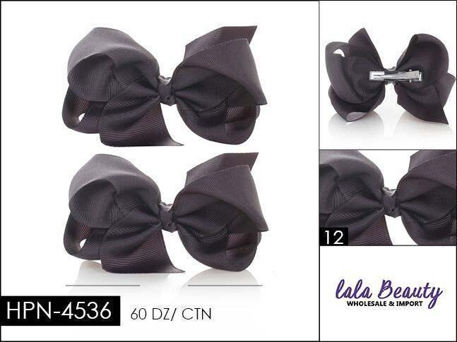 Small Hair Bow #HPN4536 Charcoal (2 Dozen)