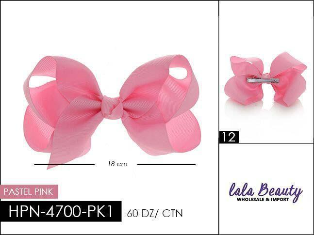 Large Hair Bow #HPN4040 Pastel Pink (Dozen)