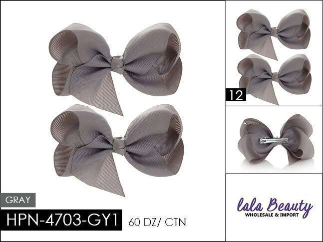 Small Hair Bow #HPN4703-GY1 Gray (2 Dozen)