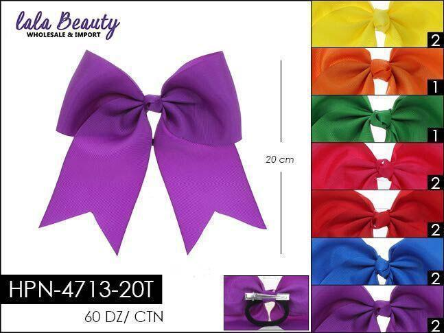 Cheer Bow #HPN4713-20T Bright Mix Hair Tie (Dozen)