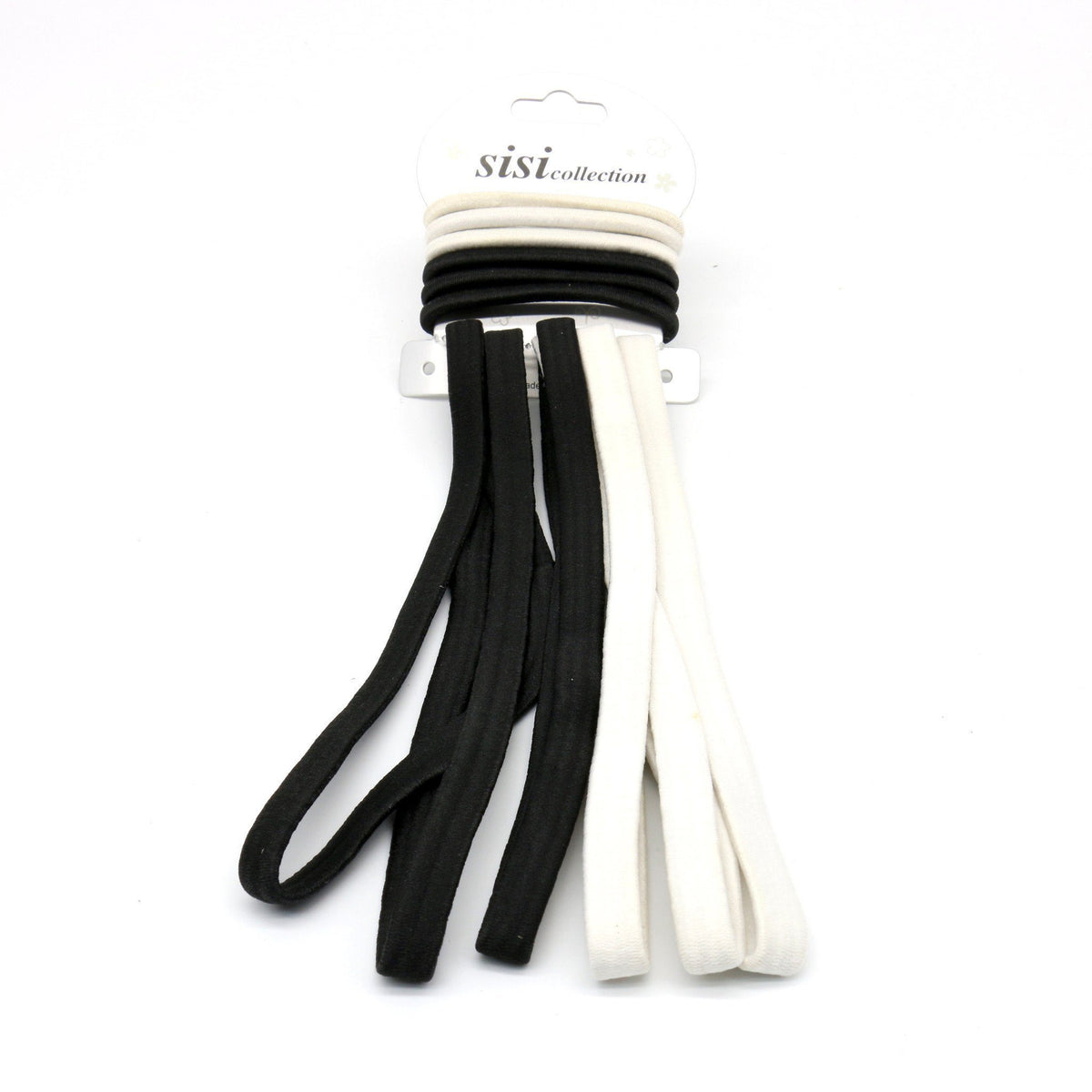 #EHW336BW Black/White Thick Elastic Head Band / Rubber Band (12PC)