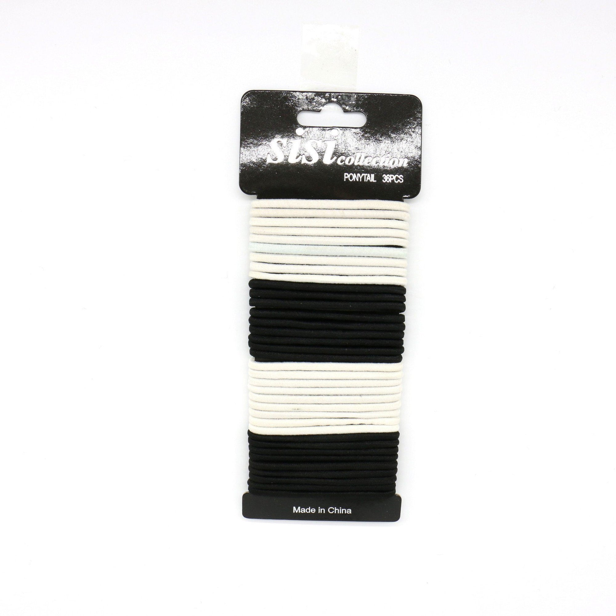 #EPT388BW Black / White Elastic Bands 40PC (12PC)