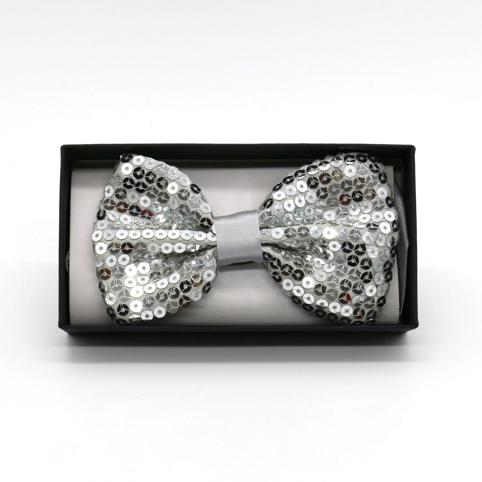 Sequin Adult Bow Tie, Silver (PC)