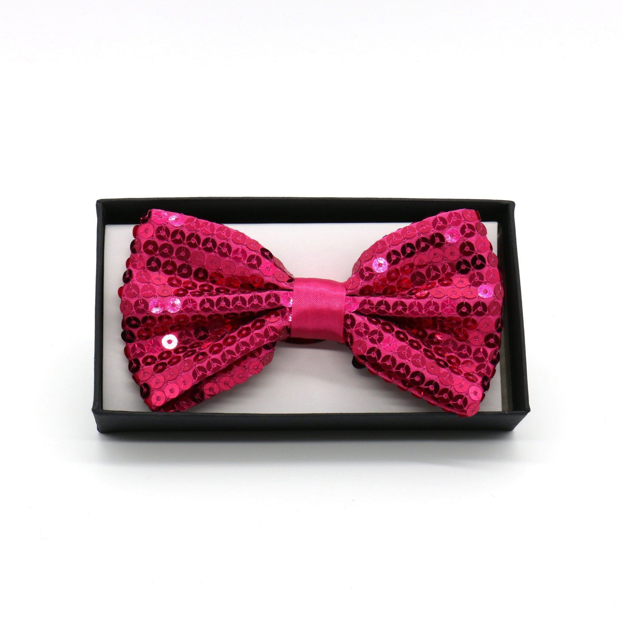 Sequin Adult Bow Tie, Hot Pink (PC)