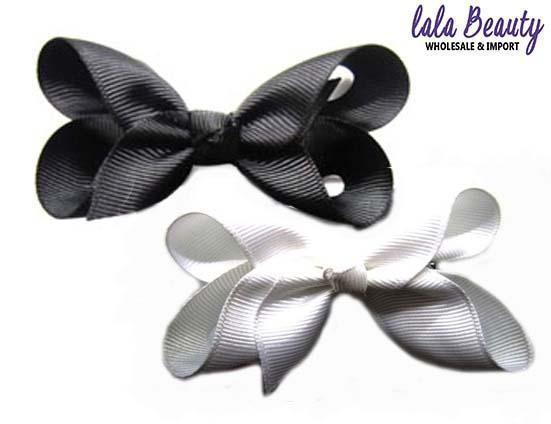 Mini Hair Bow #QHC2390BW Black / White (2 Dozen)