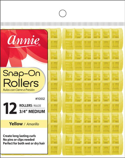 #1002 Annie Snap-On Rollers Medium / Yellow 12Pc