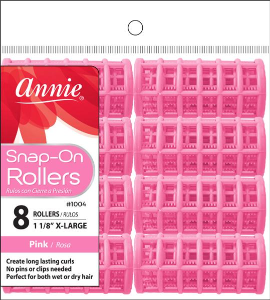 #1004 Annie Snap-On Rollers X-Large / Pink 8Pc