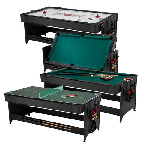 Fat Cat Original Pockey 7ft Black 3 in 1 Multi Game Table - Game Tables