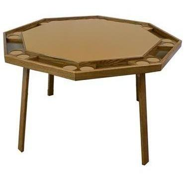 "Kestell 52"" Oak Octagon Folding Poker Table 8 Person - Game Tables"