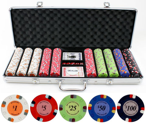JP Commerce Lucky Horseshoe 500 Piece Clay Poker Chip Set 13.5 gram - Game Tables