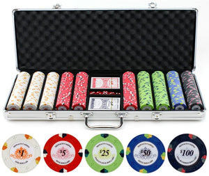 JP Commerce Monaco 500 Piece Clay Poker Chip Set 13.5 gram - Game Tables