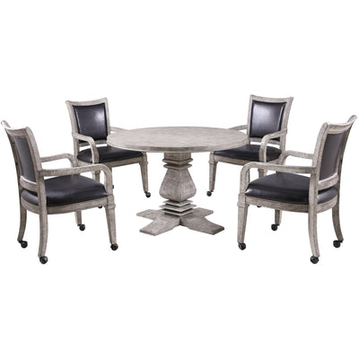 Hathaway Montecito Driftwood Round Poker Table with 4 Arm Chairs - Gaming Blaze
