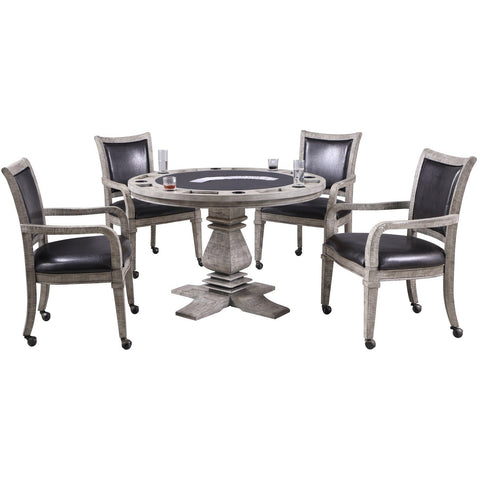 Image of Hathaway Montecito Driftwood Round Poker Table with 4 Arm Chairs - Game Tables