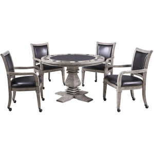 "2 in 1 Round Poker Table with 4 Arm Chairs 8 Person 48"" Drifrwood Montecito by Hathaway - Gaming Tables"