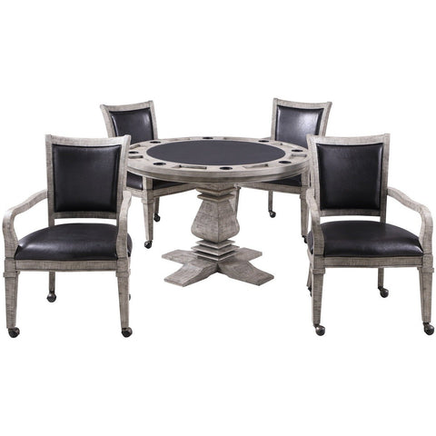 Hathaway Montecito Driftwood Round Poker Table with 4 Arm Chairs - Game Tables