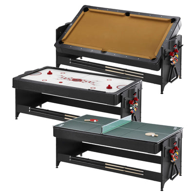Fat Cat Original Pockey 7ft Black 3 in 1 Multi Game Table