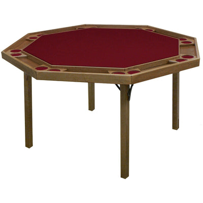 "Kestell 52"" Oak Contemporary Octagon Folding Poker Table 8 Person - Gaming Blaze"