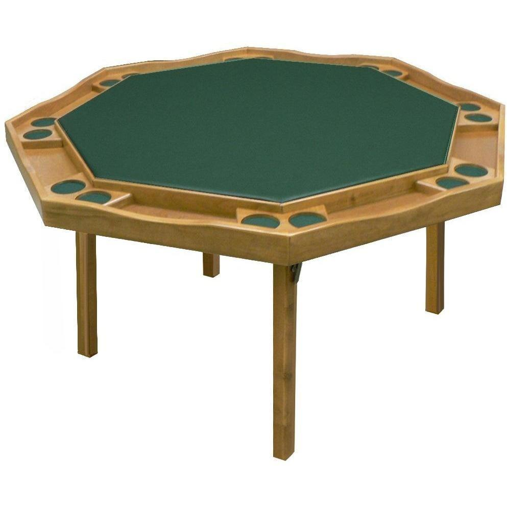 "Kestell 57"" Oak Contemporary Octagon Folding Poker Table 8 Person - Gaming Blaze"