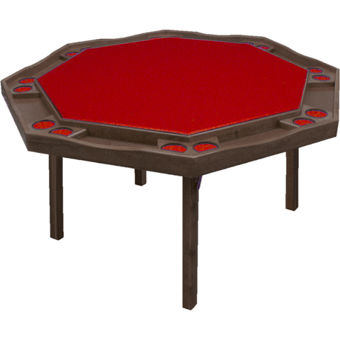 "Kestell 57"" Oak Contemporary Octagon Folding Poker Table 8 Person"